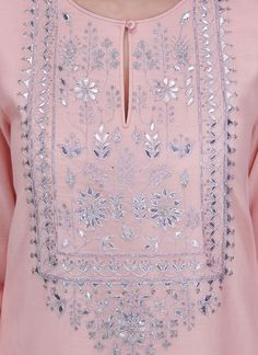 Indian Fashion Designers - Anita Dongre - Contemporary Indian Designer - The Belinda Suit - AD-SS17-PH-3-SS17DV028A #ad Embroidery Suits Punjabi, Embroidery On Kurtis, Hand Embroidery Dress, Kurti Embroidery Design, Embroidery Neck Designs, Indian Embroidery, Embroidery Fashion, Beaded Embroidery, Neckline Designs