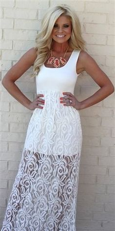 white lace maxi dress, and I love her hair