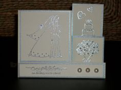 Silvery Wedding - side step card - front view