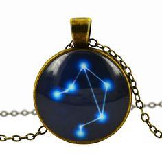 Libra Blue Cabochon Glass Constellation Necklace
