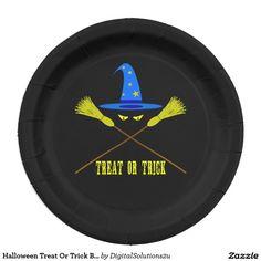 Halloween Treat Or Trick Black Paper Plate