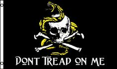 Don't Tread On Me Skull and Crossbones With Snake 3' x 5' Heavy Polyester Flag