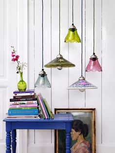 Colorful lighting pendants. I would use these lamps in a living room decor project, for instance.