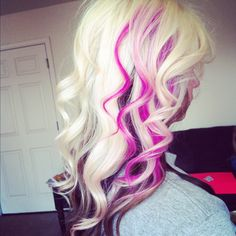 Amazing platinum hair color with bright pink streaks and brown underneath. More Hair Styles Like This! Brown And Pink Hair, Blonde With Pink, White Blonde, Purple Hair, Pink Purple, Pink Black, Pink Color, White Hair, Turquoise Color