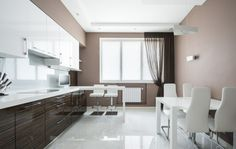 Kitchen facilities in white and taupe