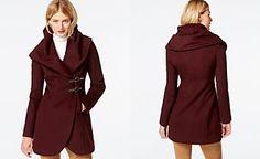 Ivanka Trump Shawl-Collar Asymmetrical Buckled Coat