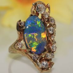 Estate 14k gold natural solid Australian Black OPAL & Diamond ring 7.37ct VIDEO in Jewelry & Watches, Vintage & Antique Jewelry, Fine | eBay