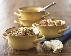 Farmhouse Double Handle Bowls, Set of 4 | Williams-Sonoma... in green.  Super!!