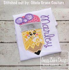 Girl Pencil with Face Applique Design: Jazzy Zebra Designs