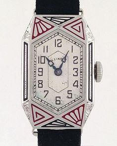 Vintage Watches Amazing Vintage Illinois Art Deco Enameled Watch (Retroworx Collection) - Selecting a wristwatch to meet your needs can be a challenging process, just imagine what selecting a watch for someone else may suggest. Art Deco Watch, Art Deco Ring, Bijoux Art Deco, Art Deco Jewelry, Art Nouveau, Art Deco Period, Art Deco Era, Antique Watches, Vintage Watches