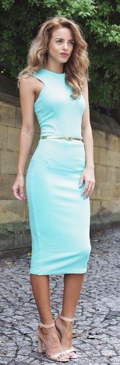 Sleeveless, Mint Sheath Dress.