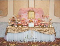 Princess 1st birthday party dessert table - Pink and gold Princess by Treat Me Sweet Candy Buffets