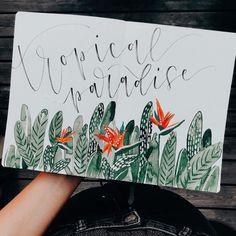 "Tanja von Die Handletterei on Instagram: ""#letternammorgen #tropicalparadise ☀️ . . . #abendroutine #watercoloraddict #watercolorart #watercolorlove #gouacheart #gouachebotanicals…"""