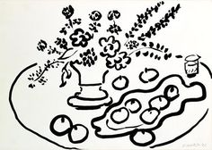 Matisse, still life with vase of flowers and plate of fruit, 1947, drawing on paper