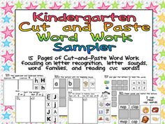 FREE 15 Cut and Paste Word Work Pages :) Kindergarten Celebration!!