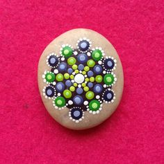 Dot Art Mandala Painted Stone  Adriatic Green by CreateAndCherish