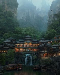 Japanese village ~ from archatlas on tumblr.