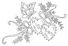 Vintage Embroidery Patterns NI 027 b Embroidery Hearts, Ribbon Embroidery, Cross Stitch Embroidery, Embroidery Sampler, Embroidery Hoops, Embroidery Scissors, Embroidery Transfers, Embroidery Designs, Coeur Tattoo