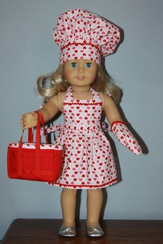 Valentine's Apron Chef's Hat Tote and Oven by dollpetitecouture, $35.00