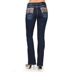 Grace in LA Women's Aztec Embellished Easy Fit Jeans