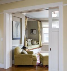 Pocket doors are used all over the house. Most commonly used in turn-of-the-century homes, they've become more common because of their space-saving construction. Unlike sliding doors, pocket doors actually slide into the wall, rather than along the side of it.