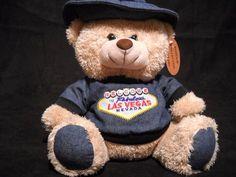 "Las Vegas Souvenir Teddy Bear Plush Denim Shirt Hat 11"" Stuffed Animal"