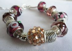 European Charm Bracelet with Purple and Silver by KATcustomDESIGNS, $30.00