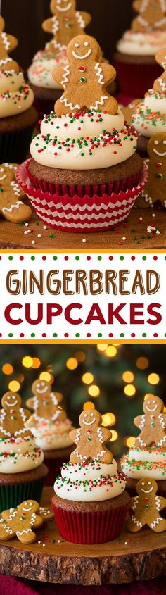 loved the Gingerbread cake but thought cream cheese frosting was too much. a simple butter cream would do well. Gingerbread Cupcakes with Cream Cheese Frosting - such a fun cupcake for the holidays! Perfect amount of gingerbread flavor! Holiday Cupcakes, Fun Cupcakes, Holiday Baking, Christmas Desserts, Christmas Treats, Cupcake Cakes, Christmas Cupcake Flavors, Winter Cupcakes, Themed Cupcakes