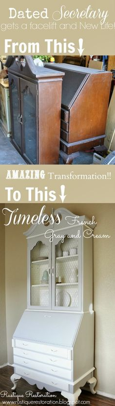DIY Old dated secretary desk/hutch gets an elegant makeover!!  @Amber Cheatham-Owens Restoration