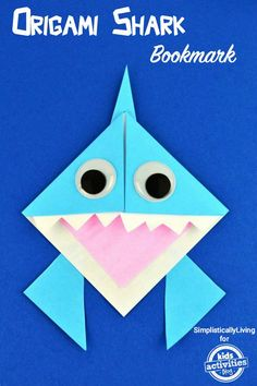 Celebrate Shark Week with This Origami Shark Bookmark. If you are looking for a fun craft to make with the kids, make this Origami Shark Bookmark! Origami Shark, Cute Origami, Kids Origami, Origami Easy, Oragami, Origami Folding, Origami Tutorial, Origami Paper, Ocean Crafts
