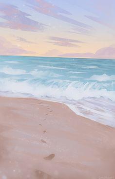 Into the Ocean Art Print by zandraart - X-Small Scenery Wallpaper, Aesthetic Pastel Wallpaper, Aesthetic Backgrounds, Aesthetic Wallpapers, Aesthetic Painting, Aesthetic Art, Aesthetic Videos, Aesthetic Vintage, Cute Wallpaper Backgrounds