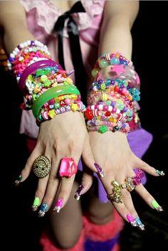 cute kawaii japan japanese decora street style harakuku beads bracelets rave raver kandi ring neon bright stars