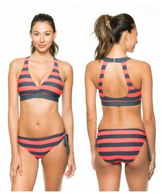LOVE this sporty & striped swim style with a gorgeous open-back from @nextswimwear // The Lined Up Open-Back Sports Bra & Lined Up Tie Side Bottom (Super supportive for larger busts!)