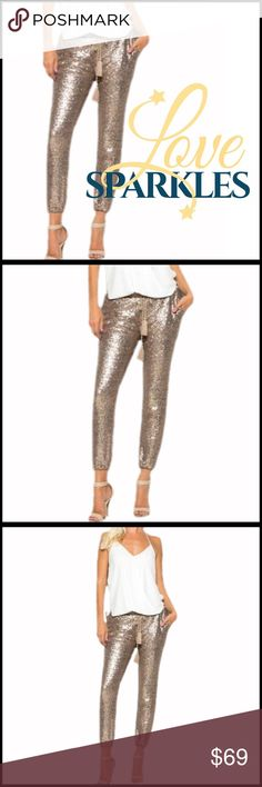 Sequin Joggers high quality sequin pants; Comfortable waistline with tassel drawstring;  Lined & great for all year; fully fleece lined. Boutique Pants