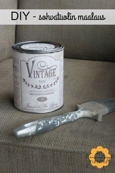 Sohvatuolin maalausta chalk paint -maaleilla ja linkki maaliarvontaan.
