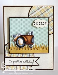 Taylored Expressions - Green Acres -Very clever belated Birthday Card! Love the play on words Belated Birthday Wishes, First Birthday Banners, Late Birthday, First Birthday Gifts, Boy Cards, Cute Cards, Men's Cards, Hand Made Greeting Cards, Fathers Day Cards