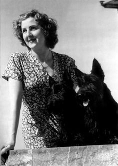 NEW reprint of Eva Braun with Hitlers dog Blondie printed on glossY PHOTO PAPER . postal discount for more than one item. Please note. Scottish Terrier Puppy, Scottie Dog, Cool Pets, Women In History, Westies, Little Dogs, German Shepherd Dogs, Historical Photos, Vintage