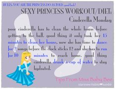 The Princess Workout- Cinderella. Super anime but kinda cute idea Disney Movie Workouts, Disney Workout, Lose Fat Workout, Workout Diet, Body Is A Temple, I Work Out, Fitness Diet, Workout Videos, Fitness Inspiration