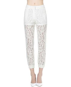 Perspective High-rise Cropped Lace Pants | BlackFive