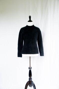 Vintage 1980's 'Empire' Black Angora Sweater Size S by BeehausVintage on Etsy