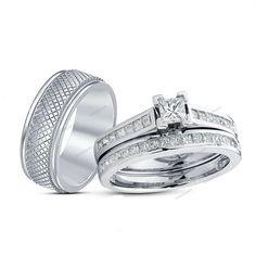 1.75 Carat Simulated Diamond Princess Cut in 14K White Gold Finish Trio Ring Set