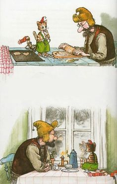Pettson and Findus by Sven Nordqvist, Sweden Christmas Illustration, Children's Book Illustration, Trolls, Gatos Cats, Nordic Art, Christmas Art, Crazy Cats, Cat Art, Folk Art