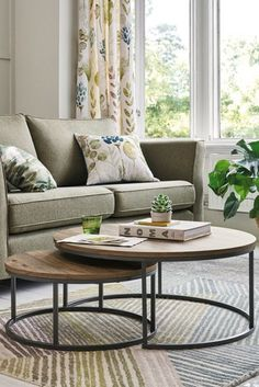 Buy Bronx Nest Of 2 Coffee Tables from the Next UK online shop Round Nesting Coffee Tables, Coffee Tables Uk, Coffee Table Next, Coffee Table Styling, Decorating Coffee Tables, Round Glass Coffee Table, Nesting Tables, Modern Wooden Furniture, Living Furniture