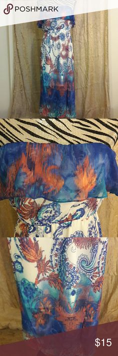 Maurices strapless dress Nwt size small strapless Maurices dress. Has shades of blue, white and orange print. 100% polyester. Maurices Dresses Strapless