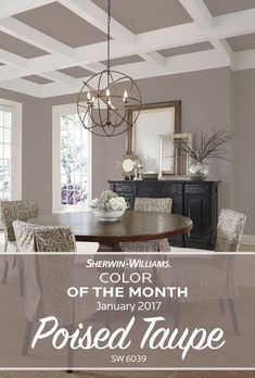 Start the new year with a touch of new paint color. Our Sherwin-Williams Color of the Month for January 2017 Poised Taupe SW 6039 strikes a fine balance between warm and cool tones working agilely with a broad range of styles and aesthetics. Living Room Colour Design, Paint Colors For Living Room, Paint Colors For Home, Living Room Decor, Bedroom Colors, Taupe Living Room, Taupe Rooms, Taupe Bedroom, Taupe Walls