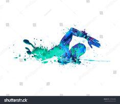 Swimming man. Splash paint
