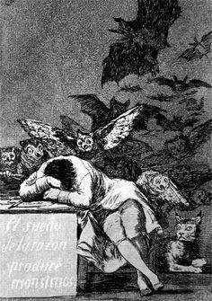 Los caprichos: Il sonno della ragione genera mostri; Francisco Goya; acquaforte e acquatinta; 1799; Museo del Prado, Madrid, Spagna.