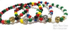 Men's Beaded Bracelets, Country bracelets, Nigeria, Puerto Rico, Pan Africa, Jamaica, Men's Gifts, Stretchy Custom Handmade Beaded Jewelry