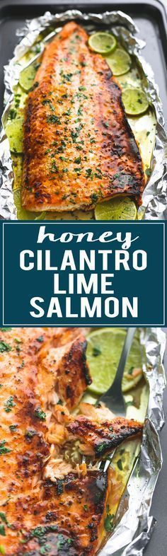 Healthy, Baked Honey Cilantro Lime Salmon is ready in 30 minutes with a 4-ingredient glaze to die for!   http://lecremedelacrumb.com