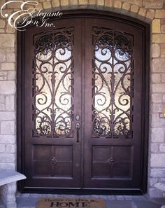 Custom wrought iron front door. Iron Front Door, Front Doors, Double Doors, Wrought Iron, Home Projects, House, Home Decor, Entry Doors, Decoration Home